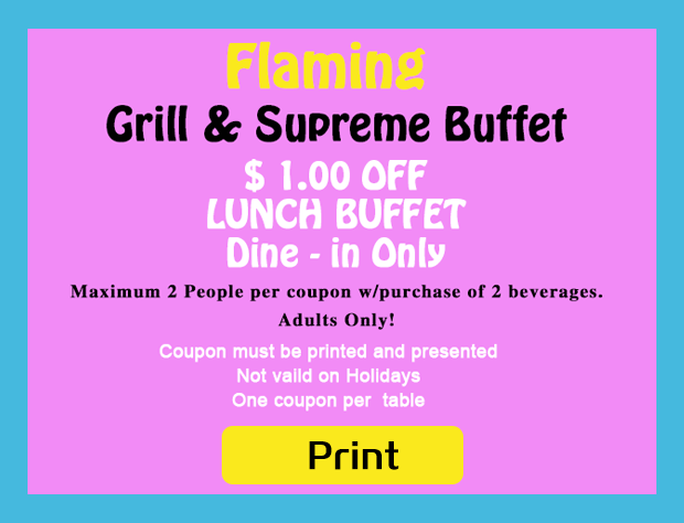 graphic about Hibachi Grill Supreme Buffet Coupons Printable called Flaming Grill Greatest Buffet